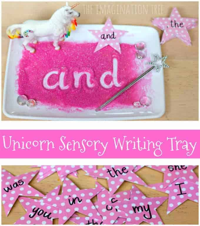 Unicorn Sensory Writing Tray by The Imagination Tree | Dozens of Magical Unicorn Ideas for Kids of All Ages!