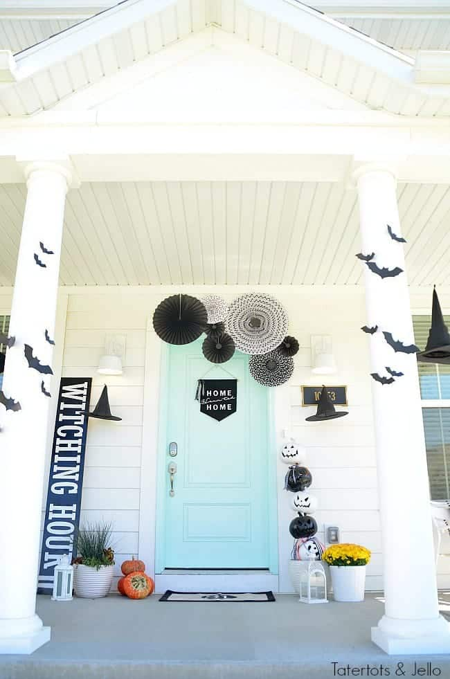 Witching Hour Front Door by Tatertots and Jello | Frighteningly Fabulous Halloween Door Decor Ideas