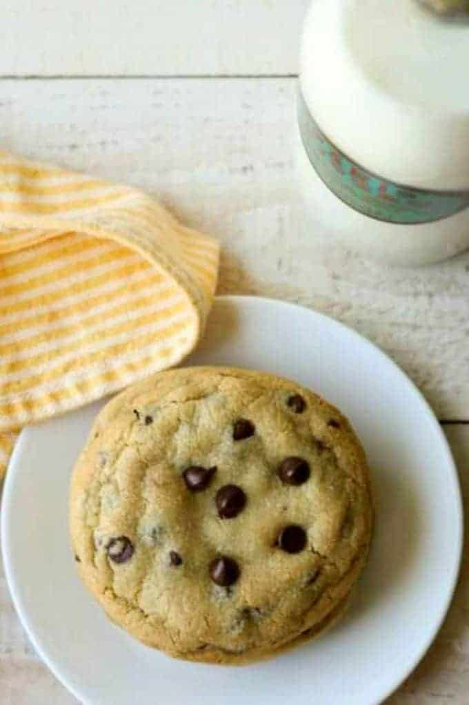 Caramel Stuffed Chocolate Chip cookies on a white plate