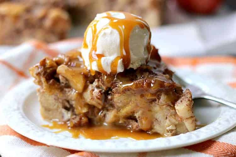 Apple Bread Pudding with Salted Caramel Drizzle