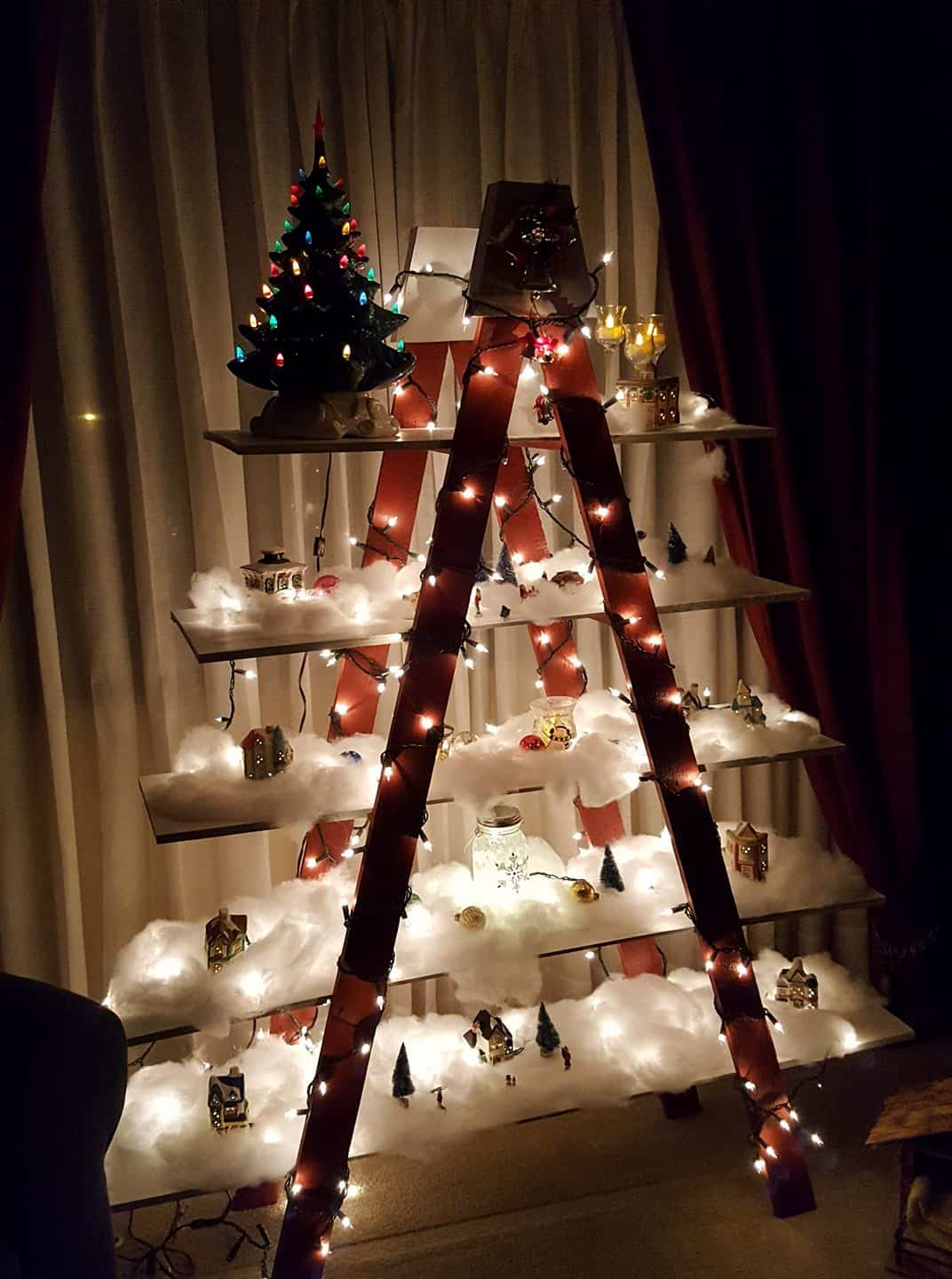 christmas tree made from shelves and lights a gorgeous christmas tree alternative - Alternative Christmas Tree Decorations