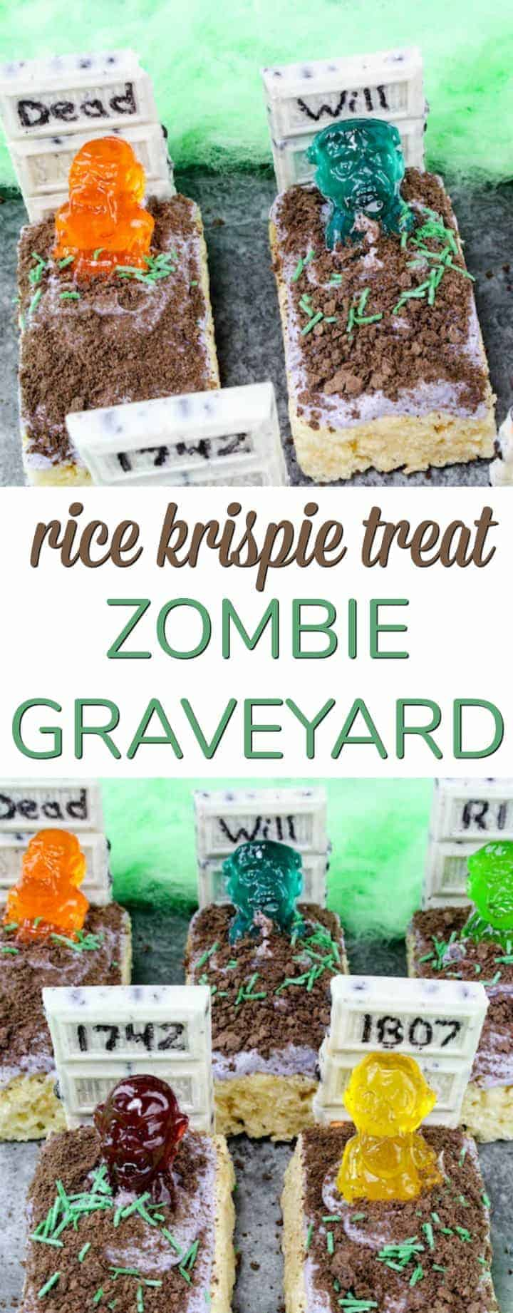 Easy Halloween treat - Rice Krispie Treat Zombie Graveyard - perfect for a school classroom party