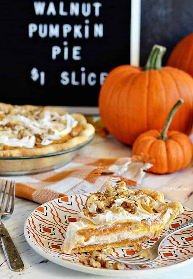 Layered Walnut Pumpkin Pie by Tidy Mom | Pumpkin Pie Recipes and Pumpkin Pie Flavored Recipes!