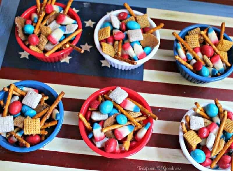 Patriotic Chex Mix by Teaspoon of Goodness and other amazing Chex Mix Recipes!