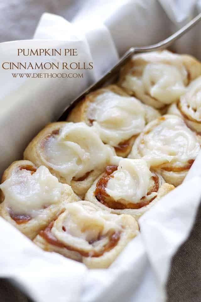 Pumpkin Pie Cinnamon Rolls by Diethood | Pumpkin Pie Recipes and Pumpkin Pie Flavored Recipes!