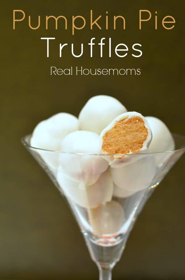 Pumpkin Pie Truffles by Real Housemoms | Pumpkin Pie Recipes and pumpkin pie flavored recipes!