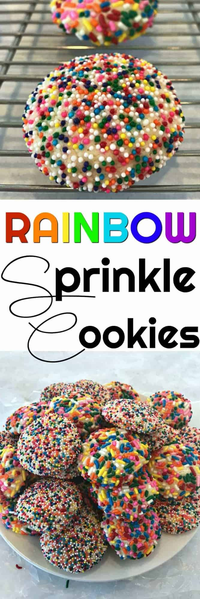 Rainbow Sprinkle Cookies are the happiest cookies on the planet - the perfect special treat for a birthday, Valentine's Day or the best for a Christmas Cookie swap!