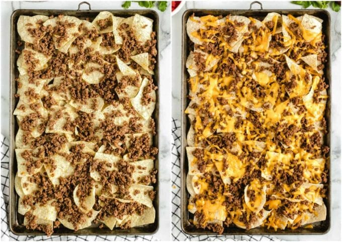 2 sheet pans with nacho chips and beef and cheese on them