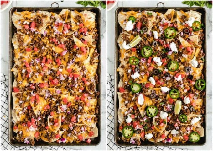 2 sheet pans with nacho chips, tomato, beef and cheese on them