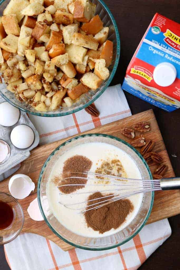 mixing your ingredients for your apple bread pudding