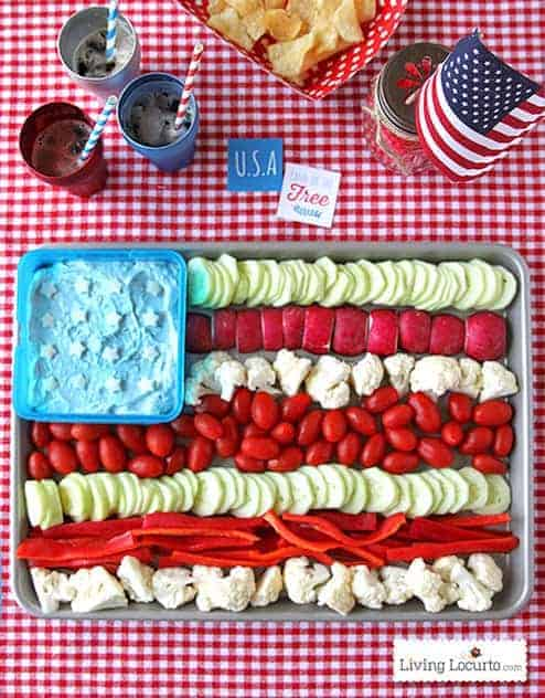 American Flag Vegetable Tray by Living Locurto and other great veggie tray ideas