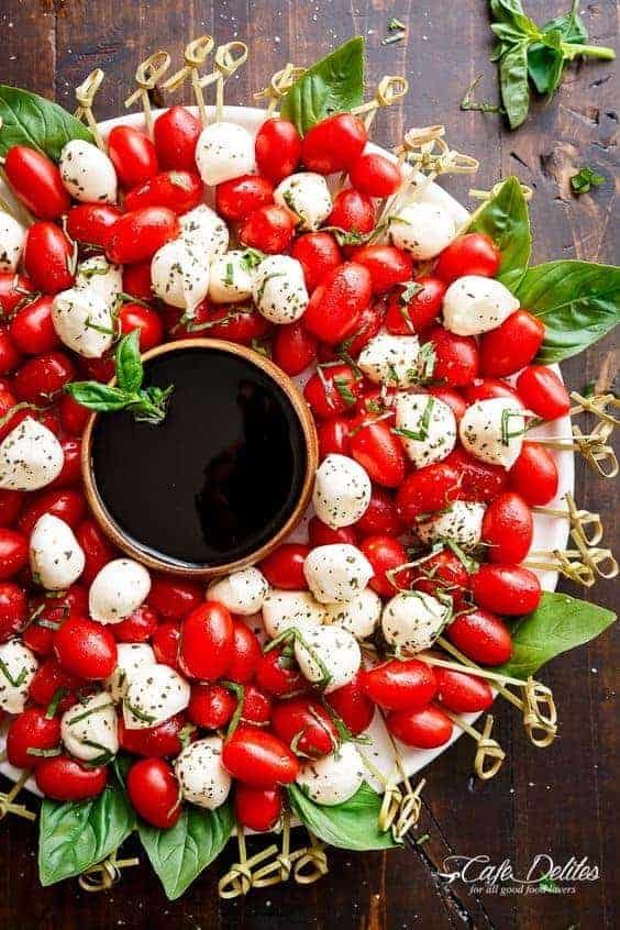 Caprese Salad Wreath by Cafe Delites and other great party tray ideas