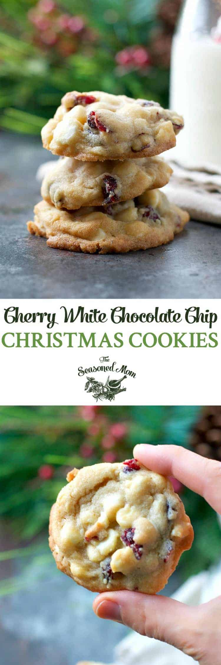 Cherry White Chocolate Chip Cookies by the Seasoned Mom   The Best Ever Christmas Cookies   Dozens and dozens of delicious Christmas Cookie Recipe ideas!