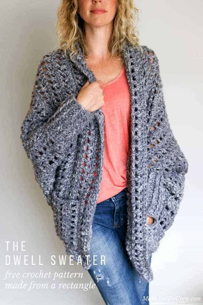 Chunky Crochet Sweater Pattern from Make and Do Crew | These are not your grandma's crochet ideas! These cool crochet patterns and handmade items are just plain fabulous!