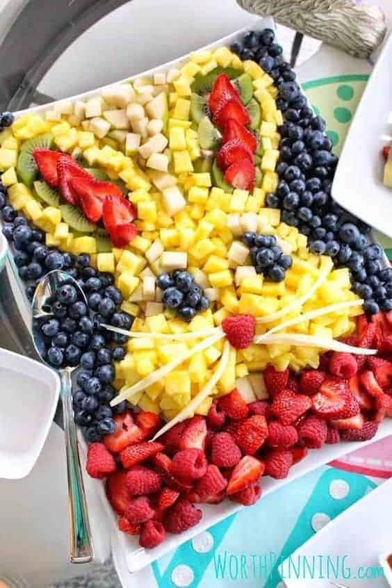 Easter Bunny Fruit Salad by Worth Pinning and other great themed fruit tray ideas