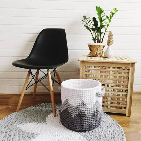 Gray Crochet Storage Basket via ETSY | These are not your grandma's crochet ideas! These cool crochet patterns and handmade items are just plain fabulous!