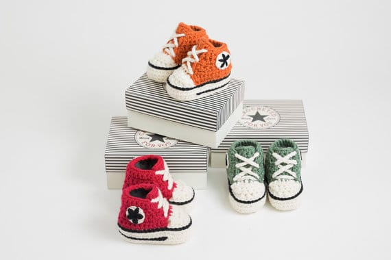 Crochet High Top Baby Booties via ETSY |These are not your grandma's crochet ideas! These cool crochet patterns and handmade items are just plain fabulous!