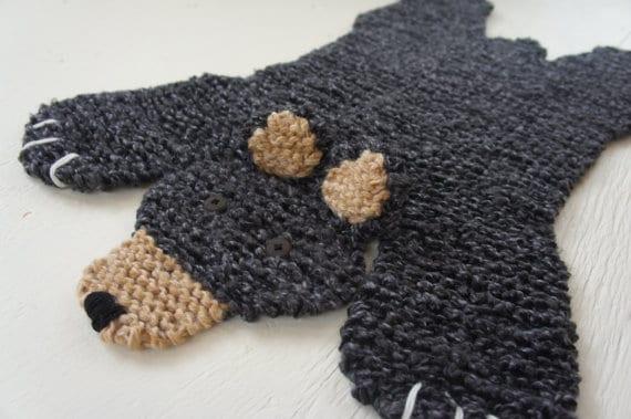 Knitted Crochet Bear Rug