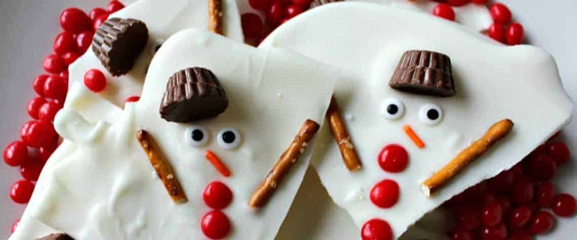 Melted snowman chocolate bark homepage