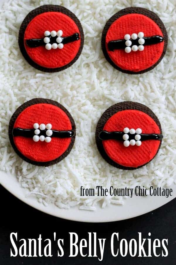 No Bake Santa's Belly Cookies by The Country Chic Cottage | The Best Ever Christmas Cookies | Dozens and dozens of delicious Christmas Cookie Recipe ideas!