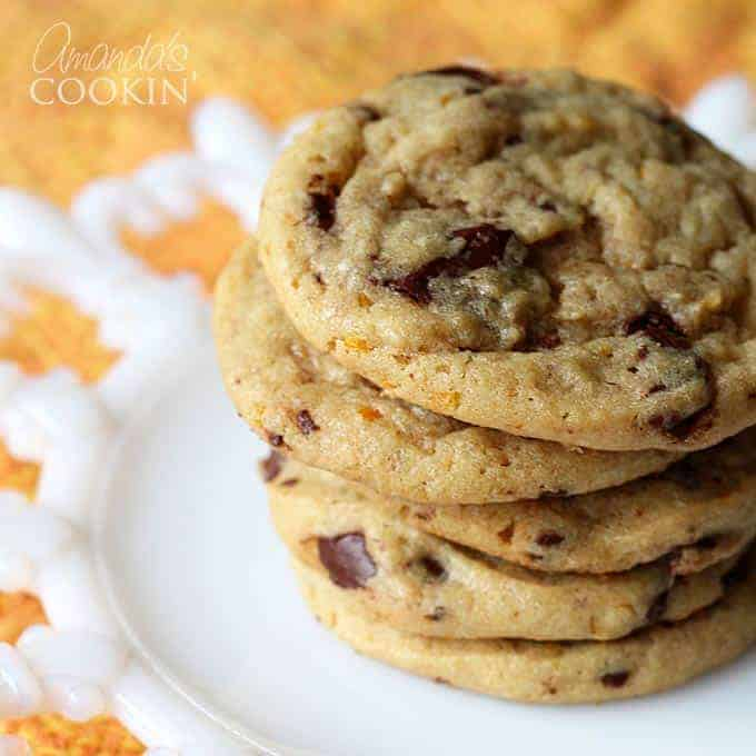 Orange Chocolate Chip Cookies by Amanda's Cookin'   The Best Ever Christmas Cookies   Dozens and dozens of delicious Christmas Cookie Recipe ideas!