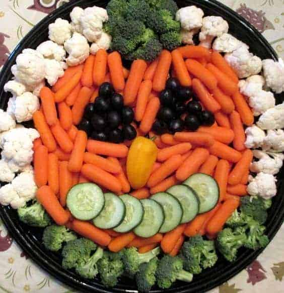 Pumpkin Veggie Tray by Raising Jack with Celiac and other great veggie tray ideas