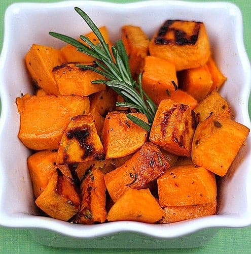 Roasted Sweet Potatoes with Fresh Rosemary by Two Peas in their Pod and other easy Thanksgiving side dishes