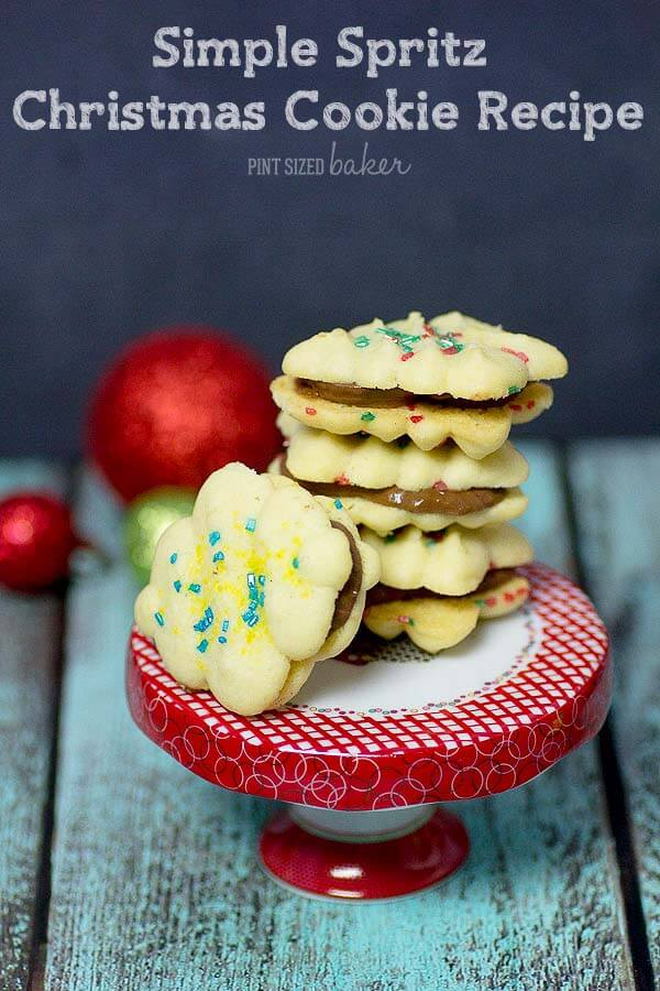 Simple Spritz Christmas Cookies by Pint Sized Baker   The Best Ever Christmas Cookies   Dozens and dozens of delicious Christmas Cookie Recipe ideas!