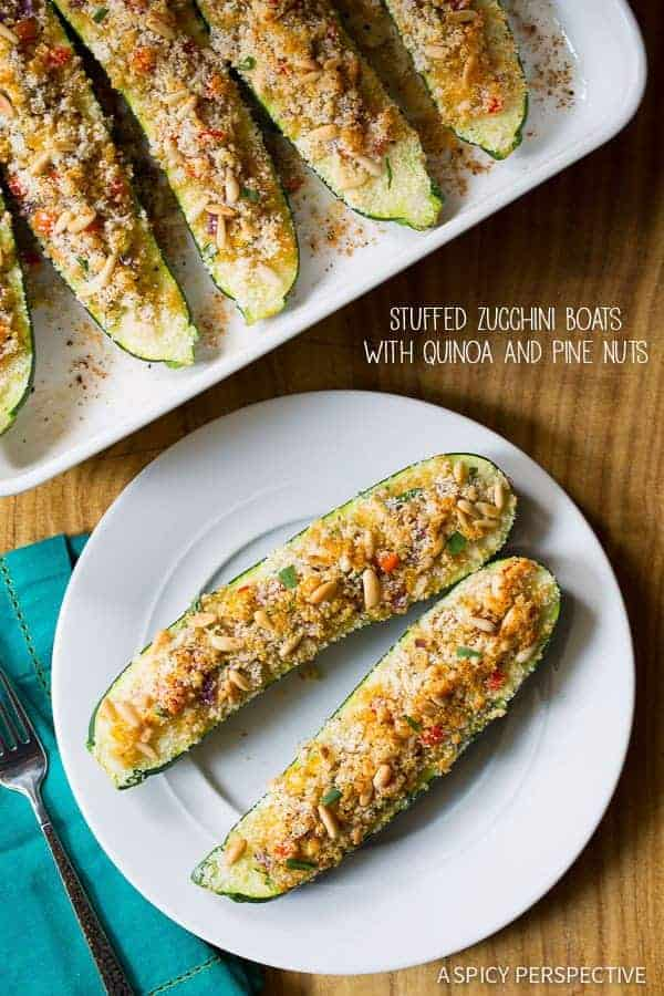Stuffed Zucchini Boats with Quinoa and Pine Nuts by A Spicy Perspective and other easy Thanksgiving main dishes with a twist