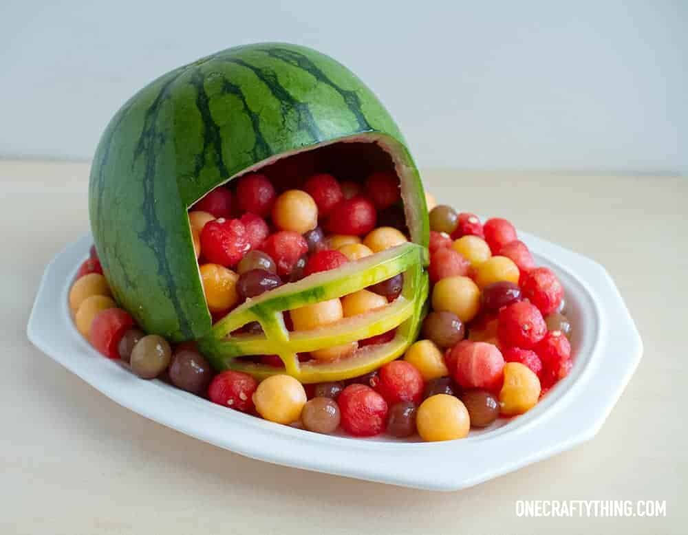 Superbowl Fruit Tray by One Crafty Thing and other great healthy party food ideas