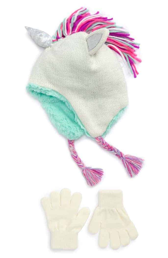 Unicorn Hat and Glove set for girls