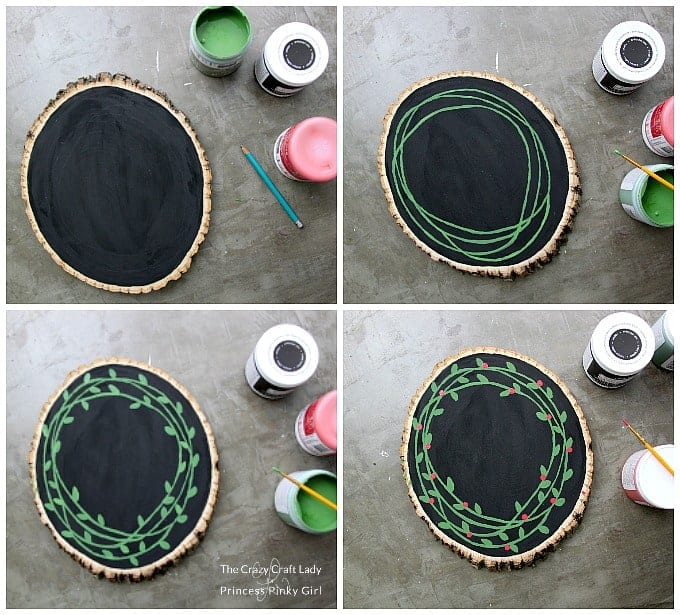 How to make a Wood Slice Painted Wreath - an easy Christmas DIY project