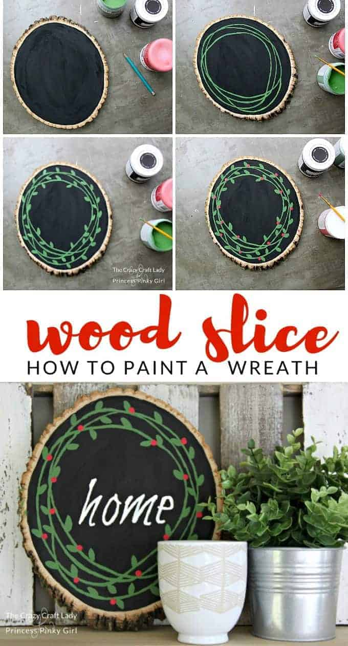 This Wood Slice Painted Wreath is such a great DIY and easy Christmas craft. It puts a new spin on an old classic wreath. You will love this Christmas wreath for your home and it will make an amazing DIY gift for a friend!
