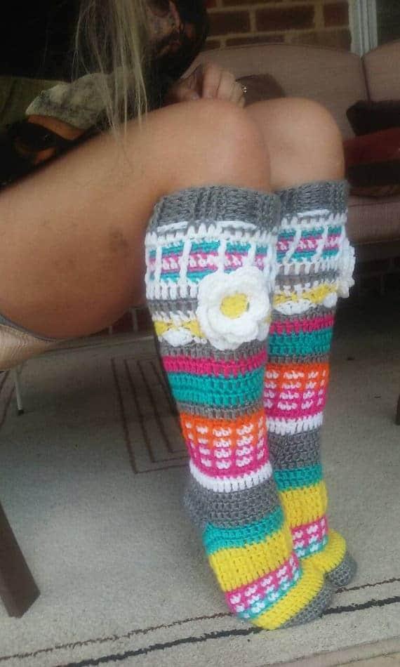Crochet knee high sock slippers