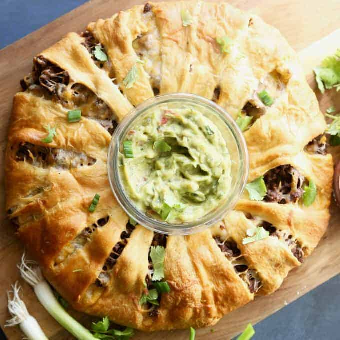Beef Taco Ring - an easy dinner or appetizer for a crowd