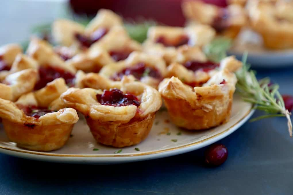 Cranberry Brie Bites - puffed pastry, brie and cranberry sauce