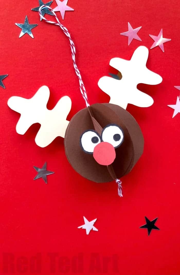 Easy Paper Rudolph Ornament by Red Ted Art | The best ever kids Christmas Craft Ideas. So many fun ideas to get the kids involved in the holiday fun!