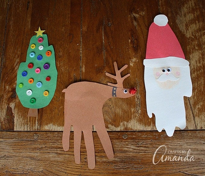 Handprint Christmas Crafts by Crafts by Amanda | The best ever kids Christmas Craft Ideas. So many fun ideas to get the kids involved in the holiday fun!