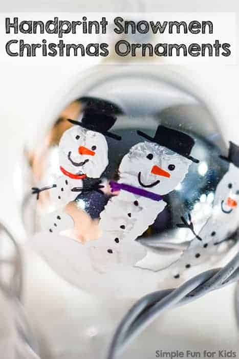 Fingerprint Snowmen Ornaments by Simple Fun for Kids | The best ever kids Christmas Craft Ideas. So many fun ideas to get the kids involved in the holiday fun!