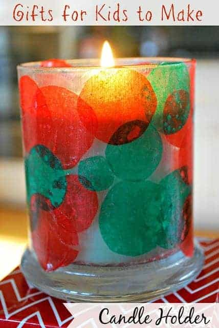 Kids Christmas Craft Candle Holder by Mess for Less | The best ever kids Christmas Craft Ideas. So many fun ideas to get the kids involved in the holiday fun!