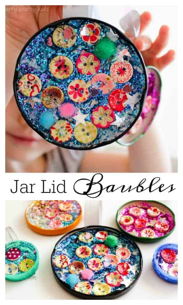 Mason Jar Lid Baubles by Arty Crafty Kids | The best ever kids Christmas Craft Ideas. So many fun ideas to get the kids involved in the holiday fun!