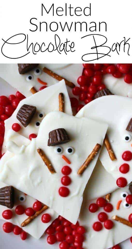 Melted Snowman Chocolate Bark and other great easy Christmas Crafts