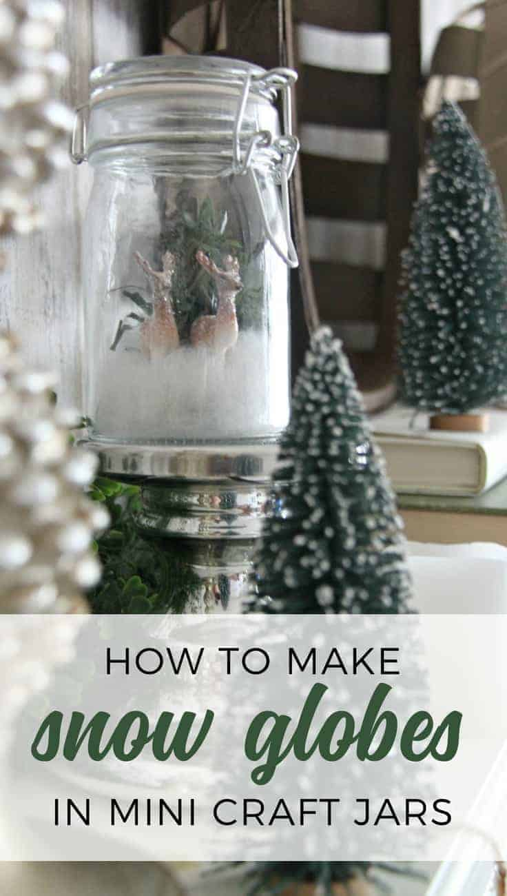 Follow this tutorial to make a DIY Snow Globe! Make your own mini glass jar snow globe. This mason jar winter scene is perfect for an easy DIY Christmas and winter decor.