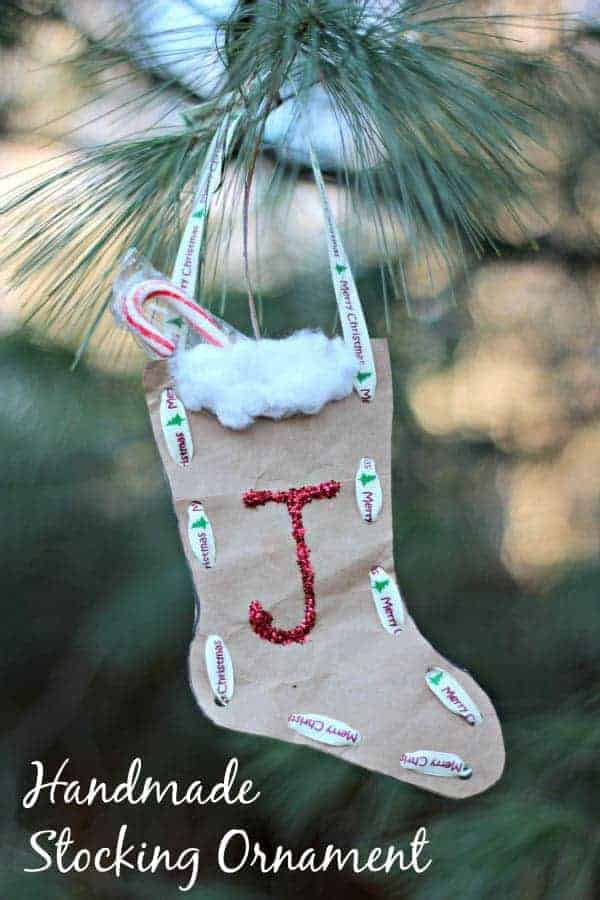 Paper Bag Christmas Stocking Ornament by KC Edventures | The best ever kids Christmas Crafts. So many fun ideas to get the kids involved in the holiday fun!