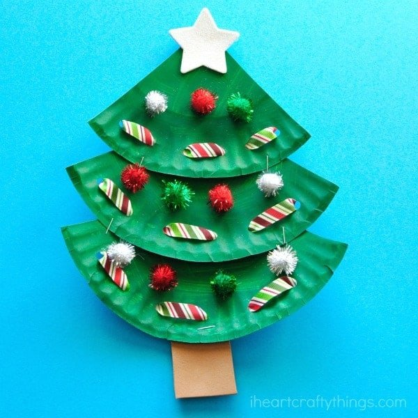 Paper Plate Christmas Tree by I Heart Crafty Things | The best ever kids Christmas Craft Ideas. So many fun ideas to get the kids involved in the holiday fun!