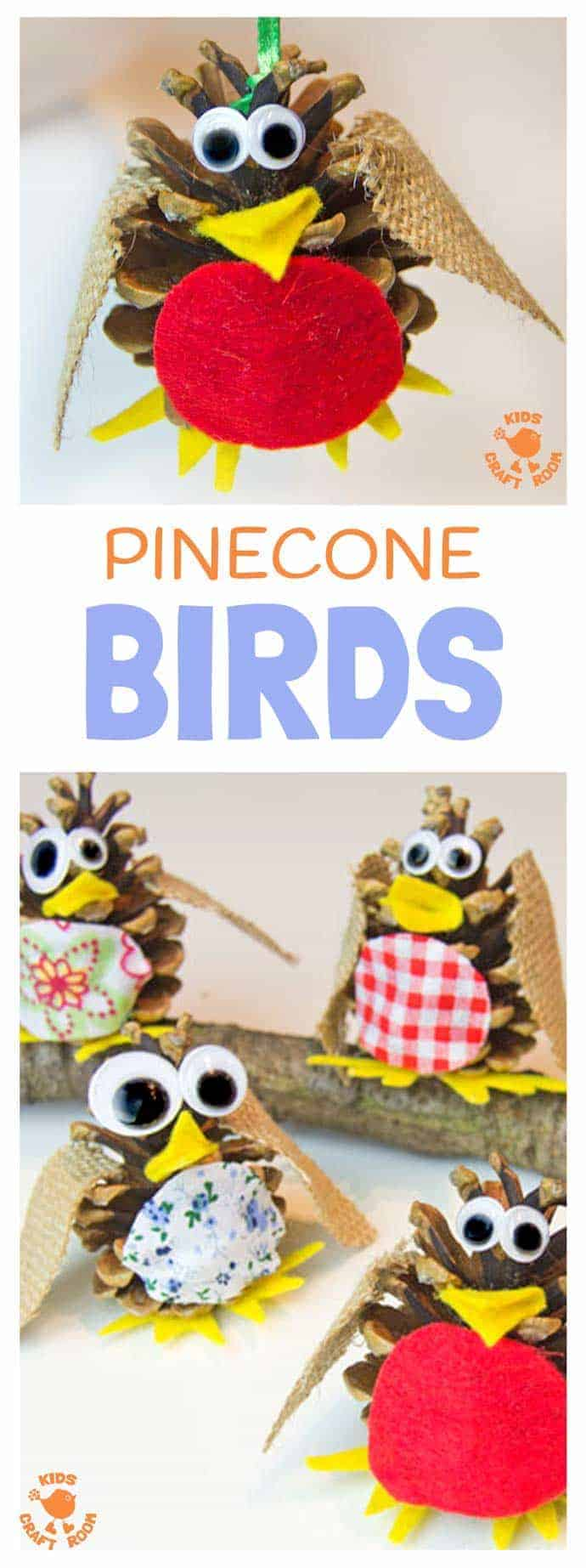 Pinecone Bird Ornament by Kids Craft Room | The best ever kids Christmas Craft Ideas. So many fun ideas to get the kids involved in the holiday fun!