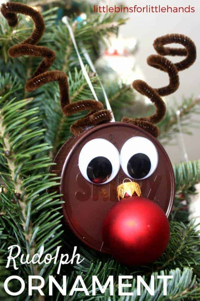 Rudolph Christmas Ornament by Little Bins for Little Hands | The best ever kids Christmas Craft Ideas. So many fun ideas to get the kids involved in the holiday fun!