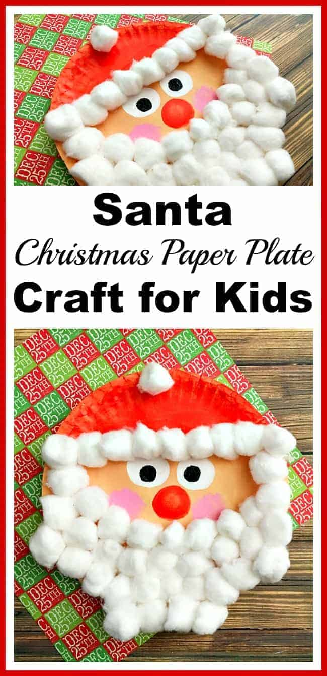 Santa Paper Plate Craft for Kids by A Cultivated Nest | The best ever kids Christmas Craft Ideas. So many fun ideas to get the kids involved in the holiday fun!