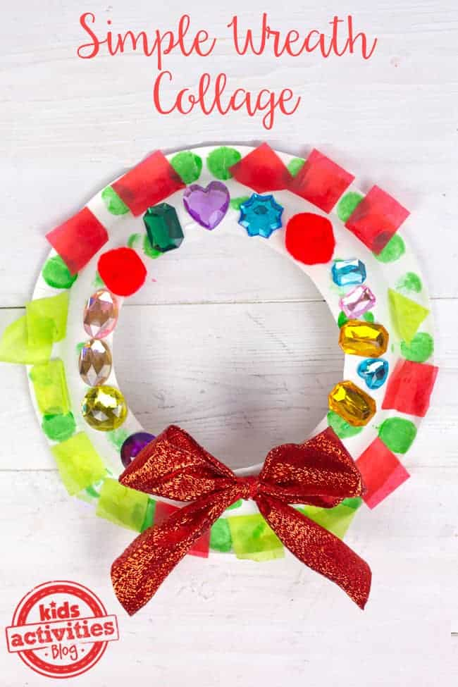 Simple Wreath Collage by Kids Activities Blog | The best ever kids Christmas Craft Ideas. So many fun ideas to get the kids involved in the holiday fun!