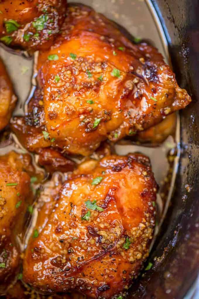 Slow Cooker Brown Sugar Garlic Chicken by Dinner Then Dessert and other great 5 ingredients or less slow cooker recipes